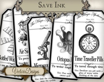 15 economic Large Steampunk Apothecary Bottle Labels 4.5 x 2.23 inch Jar Labels Halloween digital collage sheet VD0399