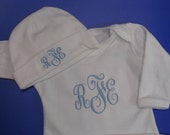 Newborn Baby Infant Boy or Girl Gown and Hat set Monogram