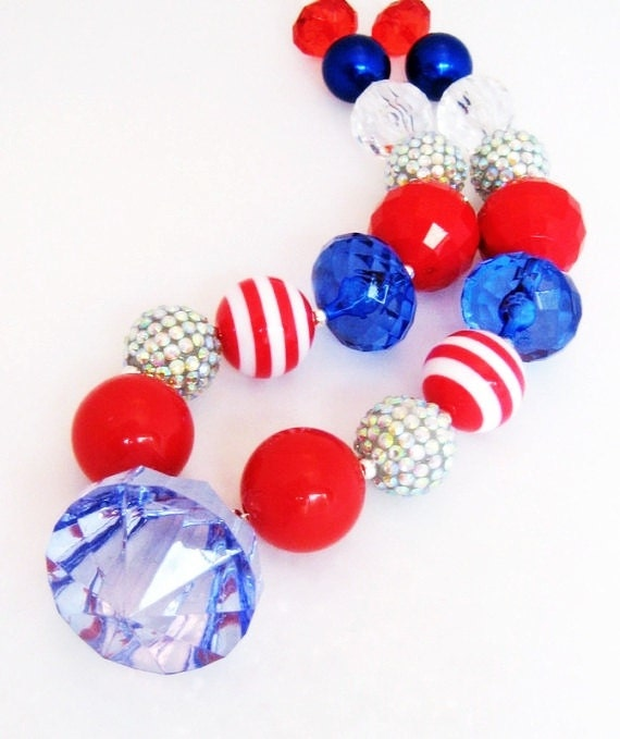 Custom for Ashley, Red, White And Blue Chunky Bubblegum Necklace, Fireworks