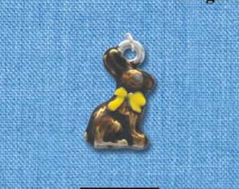3D CHOCOLATE BUNNY Rabbit Enamel Silver Plated Charm che0360