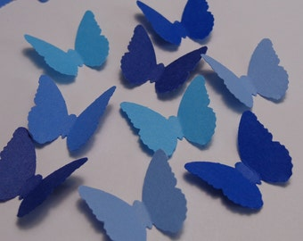 100 Mixed Blue Classic Butterfly - Die Cuts-  Scrapbooking Embellishments - Table Confetti - Cardmaking Supplies - Birthday Confetti