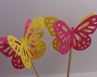 24 Large Pink and Yellow Monarch Butterfly Party Picks - Cupcake Toppers - Food Picks