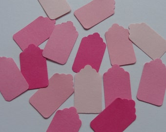 100 Mini Mixed Pink Scalloped Price Tags
