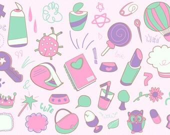 Doodle clip art icon set
