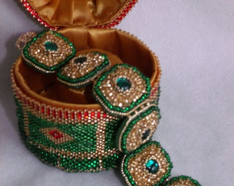 Faberge inspired bead embroidered bracelet with decorative box, bead embroidery bracelet, cuff bracelet, embroidered bracelet