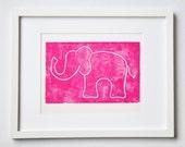 ELEPHANT - original block print - letterpress - hot pink or custom color - 8 x10