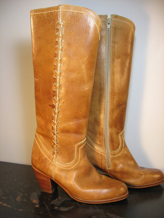 SALE vintage 1970s boots / 70s tan caramel beige tall leather boots / Nobils