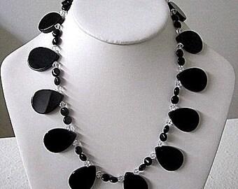 "Black  Onyx and Crystal Necklace - 18"" - A Stephanie Design"