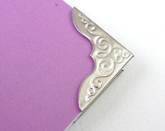 100 Large Vintage Nickel Silver Metal Book Corners - Bookbinding - Scrapbooking - Photo Album - Diary - Journal