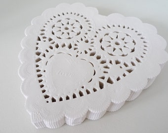 """200 French Lace Paper Doilies - Doily - 5"""" Heart Shaped Doilies - Cream Color - Food Packaging"""