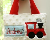 Boys Train Tooth Pillow Door Hanger Personalized Great Baby Gift Birthday Ring Bearer