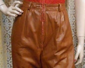Vintage 80's  Brown Toffee High Waisted Leather Pants Buttery Soft   Waist 27 inches