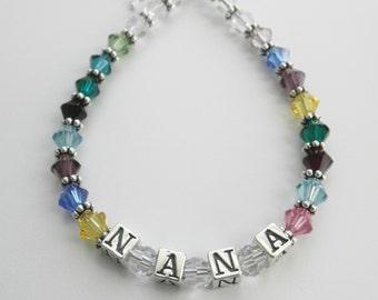 Grandmother Birthstone Bracelet Name Bracelet Grandmother Jewelry Mothers Bracelet Mothers Birthstone Crystal Mothers Sterling Silver