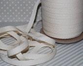 "Twill Tape - Natural Twill Ribbon Tape 1/4"" wide- (10 yards) - Lightweight cotton twill tape 6mm width vintage cream"