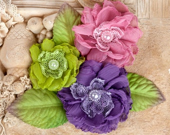 """Fabric Flowers - Paquita Meadow 566432 chiffon lace fabric flowers 2""""- to 3"""" size - (3 pcs)  applique flower floral embellishment  hair hat"""