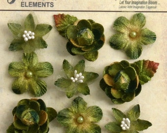 "fabric flowers  Moss Green Avocado 1"" mini blossoms (9pcs) accent flowers applique flowers embellishments small  textured flowers 1263-201"