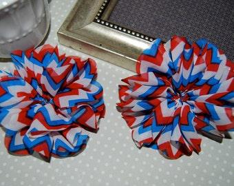 "CLEARANCE: 2 pcs - Red White & Blue Chevron Fabric Flowers 3.5""  Lotus Leaf ruffle Chiffon Fabric hair Flowers headband flowers"