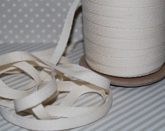 "Twill Tape - Natural Twill Ribbon Tape 1/4"" wide- (10 yards) - Lightweight cotton twill tape 6mm width vintage cream"