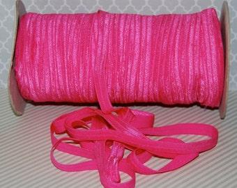 "Fold Over Elastic  Shocking Pink #175  Shiny FOE 3/8"" inch Baby Headbands Hair Ties Satin Elastic Soft  - 5 yds Skinny Elastic FOE Hot Pink"