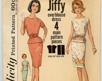 1960s Vintage Sewing Pattern Simplicity 4979 Misses Two-Piece Jiffy Dress with Straight Skirt Blouse Scooped Neckline Bust 34