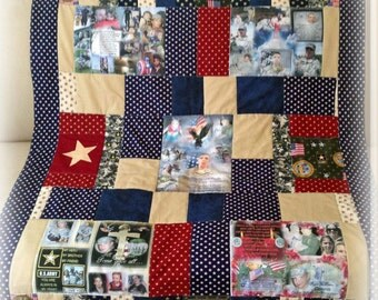 """Remembering Quilt with 5 Fabric Collages.  Up to 8 Photos on each Collage 36""""x48""""  Perfect Lap & Display Size to View All Photos.  Washable"""