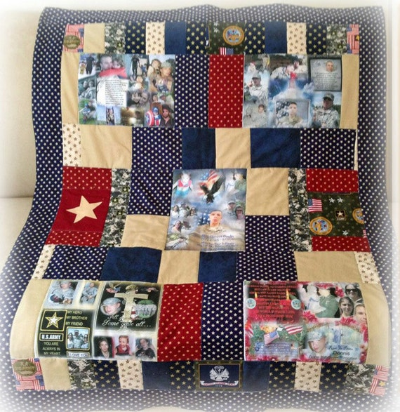 "Remembering Quilt with 5 Fabric Collages.  Up to 8 Photos on each Collage 36""x48""  Perfect Lap & Display Size to View All Photos.  Washable"