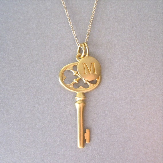 gold initial key charm necklace by tangerinejewelryshop
