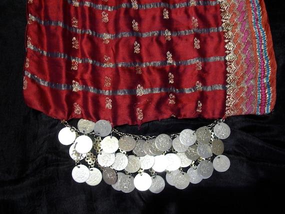 Silk sari hip scarf belt for Tribal fusion belly dance