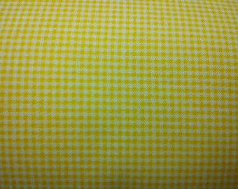 SALE - Mini plaid in yellow and ivory, 1/2 yard, pure cotton fabric