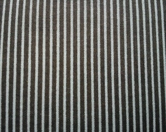 Stripes in gray and very dark brown, fat quarter, pure cotton fabric