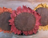 Primitive Sunflower Pokes Colorful Bouquet Red Orange Yellow