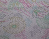 PASTEL BUTTERFLIES  Quality Vintage Japanese Kimono silk Floral  14 x 66 inches