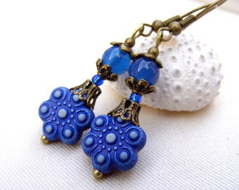 Dangle earrings, blue earrings, valentine earrings, valentine sale gift agate flower, Romantic delicate flower shabby style antique vintage