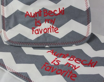 Personalized Monogrammed Bib and Burp Cloth