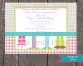 Printable Invitation-Slumber Party-Pajama Feet 3-Little Birdie Notes