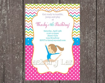 Printable Invitation-NEW Gymnastics Girls Collection-Little Birdie Notes