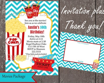 Movies Invite Package- Invites, Thank Yous -Casbury Lane
