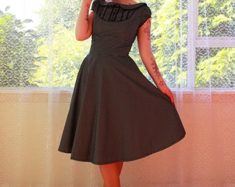 "1950s Retro ""Mary"" Office Dress with Full Skirt, Peter Pan Collar and Puff Sleeves - Any Colour -Custom made to Fit"