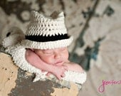 Fedora Hat Newborn thru 6 months available  Cream with black band Excellent Photography Prop