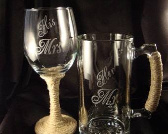 """Custom Etched Wine and Beer Set - Bride and Groom """"His Mrs"""" and """"Her Mr"""" - Custom Engraved Wine Glass - Gift for the Bride and Groom -"""
