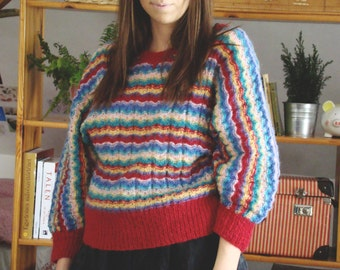 Vintage 80's  Striped Sweater Batwing arms