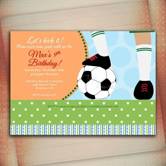 Soccer Party Invitations Soccer Birthday Invitation