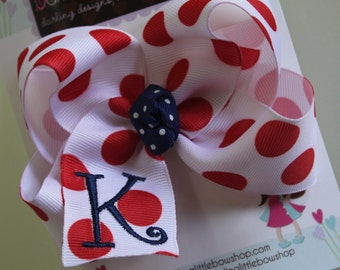 Monogrammed Bow- initial bow - July 4th bow -  -- white with red polka dots -- red and navy