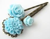 flower bobby pins set, light blue hair pins, flower hair accessories rose hairpins chrysanthemum