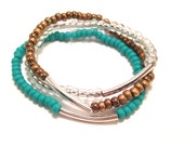 Colorblock Stackable Bracelets in Turquoise, Bronze and Gold Flecked Lucite