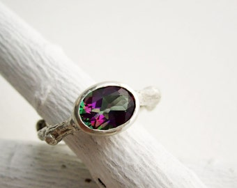 Mystic Topaz Silver Branch Ring, Nature Ring, Tree Ring, Mystic Topaz Oval 8 x 6mm