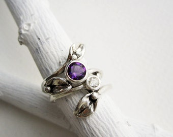 Leaf Ring, Set of 2 Rings, Silver Leaf Ring with 5mm Amethyst & 3mm White Topaz, Engagement Rings