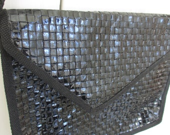 Vintage Ennelinea Black Reed Purse Made in Italy