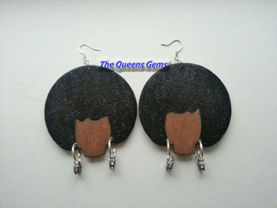 hand painted wooden earrings 1