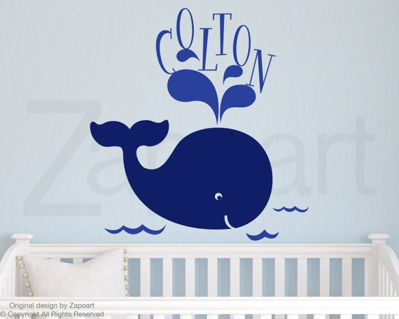 Children Wall Decal Baby Whale with Name Vinyl decal